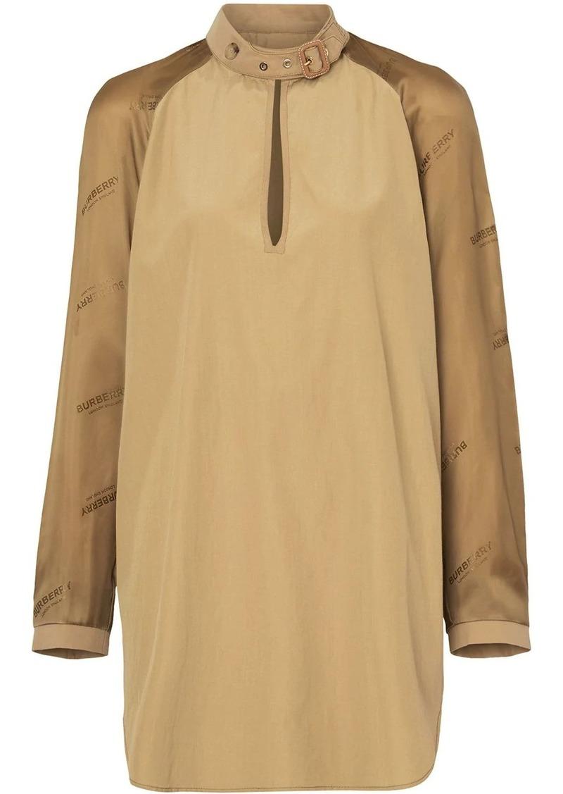 Burberry Buckle Collar Contrast-sleeve Silk Cotton Top