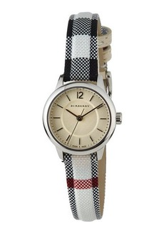 Burberry 26mm Round Stainless Watch with Check Strap