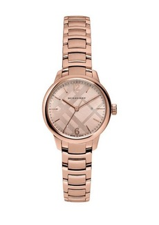 Burberry 32mm Classic Rose Golden Stainless Steel Bracelet Watch