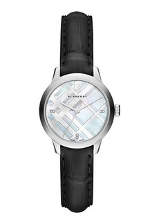 Burberry 32mm Diamond Dial Watch with Alligator Strap