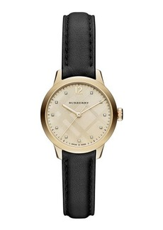 Burberry 32mm Round Check Watch with Diamonds