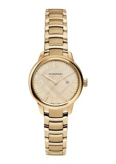 Burberry 32mm Round Golden Stainless Steel Bracelet Watch