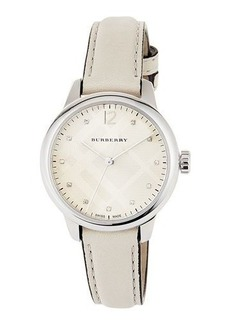 Burberry 32mm Round Stainless Watch with Diamonds