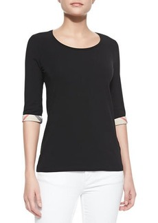 Burberry 3/4-Sleeve Check-Cuff Scoop Tee