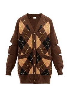 Burberry Agnese cutout argyle-check wool-blend cardigan