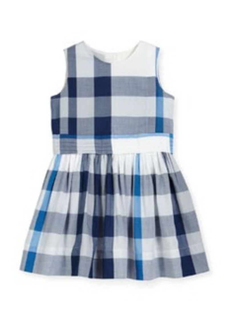 Burberry Alenna Sleeveless Smocked Check Dress