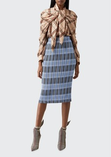 Burberry Allover Plisse Pleated Check Pencil Skirt