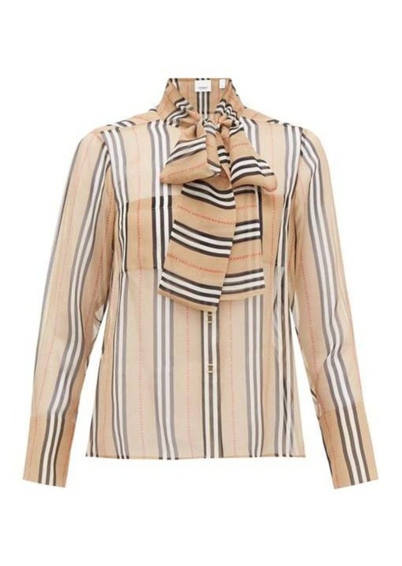 Burberry Amelie Icon-stripe silk-georgette blouse