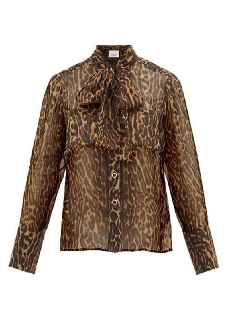 Burberry Amelie leopard-print tie-neck mulberry-silk blouse