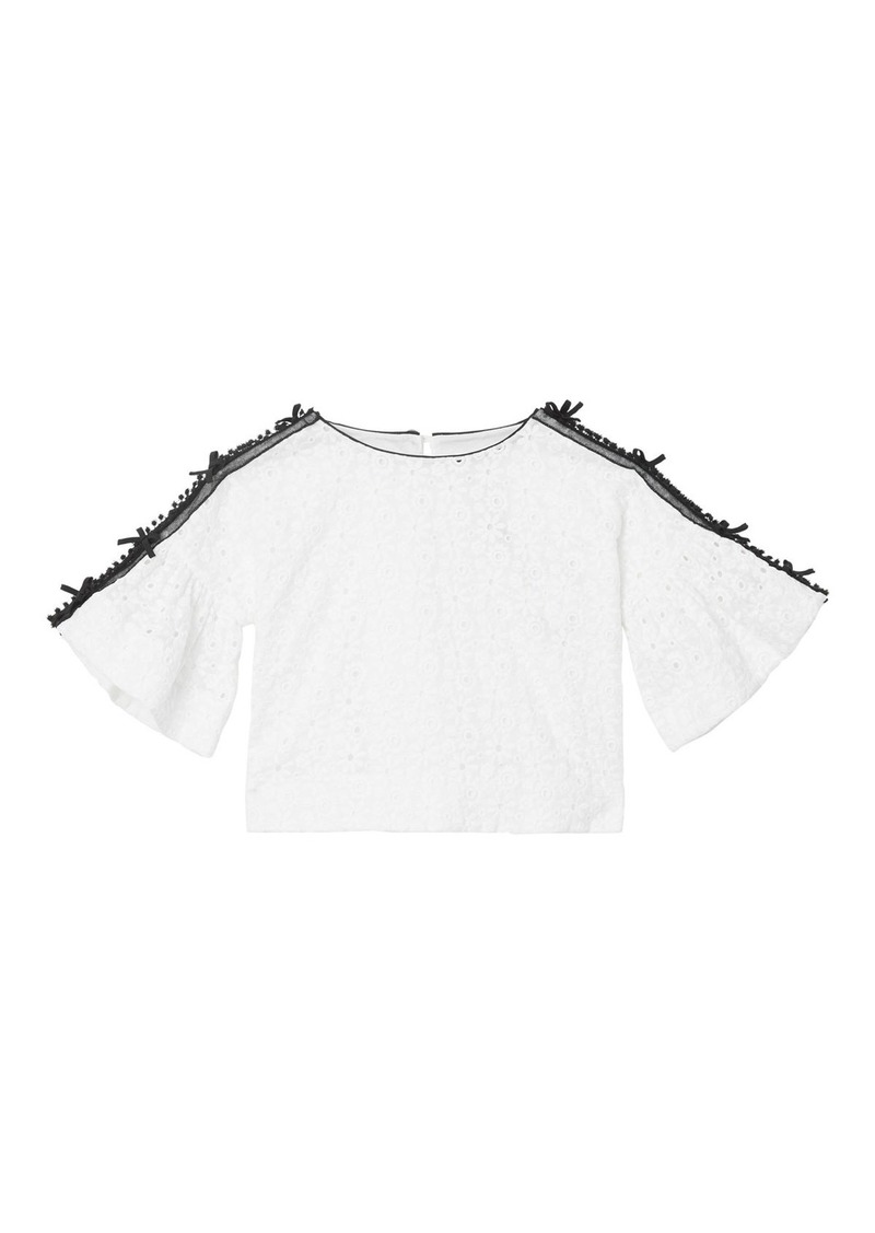 Burberry Anca Lace Embroidered Fluted Sleeve Top  Size 3-14