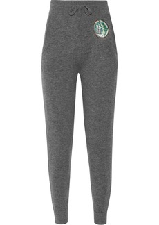 Burberry Appliquéd wool and cashmere-blend track pants