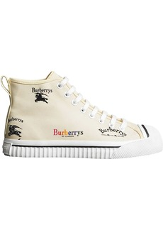 Burberry Archive Logo Cotton High-top Sneakers - White