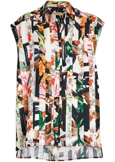 Burberry Archive Scarf Print Silk Sleeveless Shirt - Multicolour