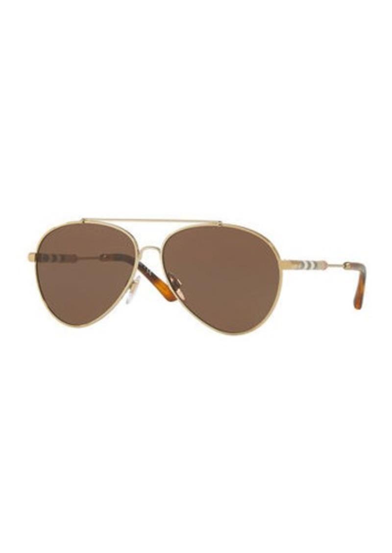 8ff819b4a38b Burberry Aviator Sunglasses with Check Temples
