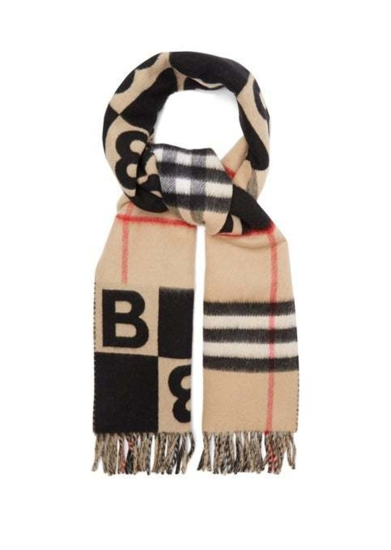 Burberry B logo and check wool-blend scarf