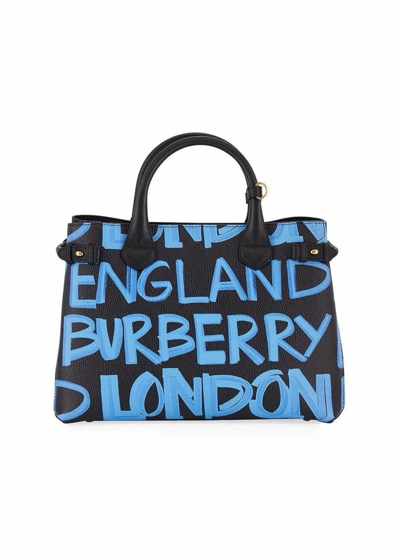 3fba84435e10 Burberry Banner Medium Leather Graffiti Top Handle Bag