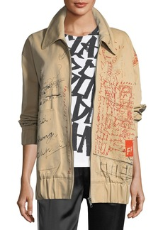 Burberry Barnhall Scribble Zip-Front Long Bomber Jacket