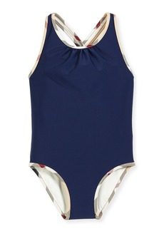 Burberry Beadnell Check-Trim One-Piece Swimsuit
