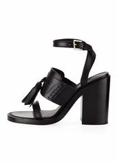 34137eaae242 ... Burberry Bethany Tassel Leather Block-Heel Sandal