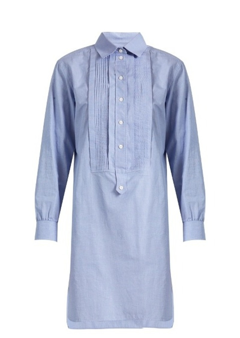 Burberry Bib-front cotton-chambray shirtdress