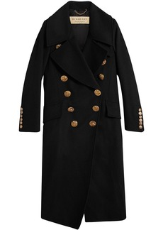 Burberry Bird Button Wool Blend Military Coat - Black