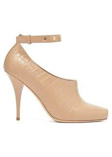 Burberry Blyth peep-toe crocodile-effect leather pumps