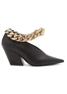 Burberry Brierfield chain-strap pointed leather pumps