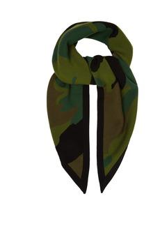 Burberry Camouflage wool-blend bandana scarf