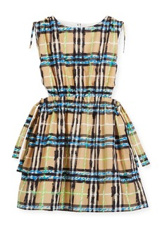 Burberry Candra Cutout Tie Check Scribble Dress