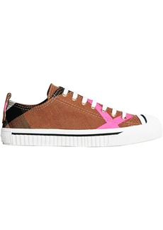 Burberry Canvas Check and Leather Sneakers - Brown