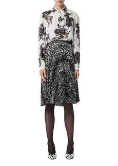 Burberry Carlota Angel-Print Silk Pearly Button-Front Shirt