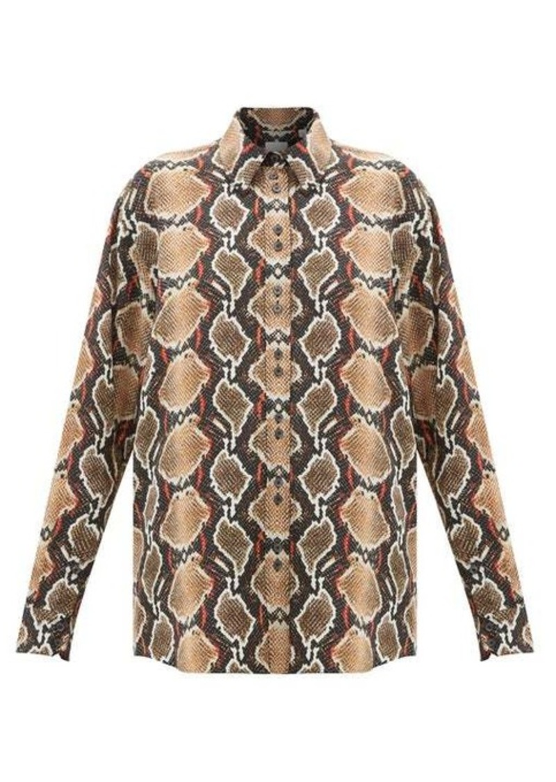 Burberry Carlota snake-print mulberry-silk shirt