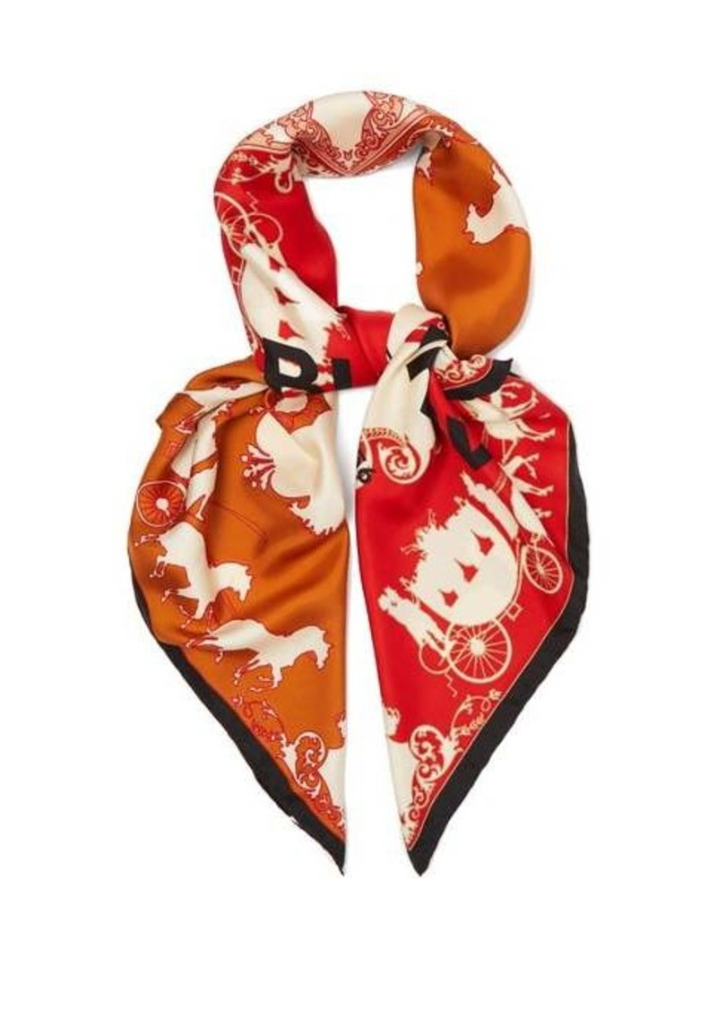 Burberry Carriages-print silk-twill scarf