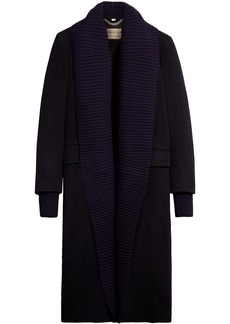 Burberry cashmere detachable rib knit collar coat - Blue