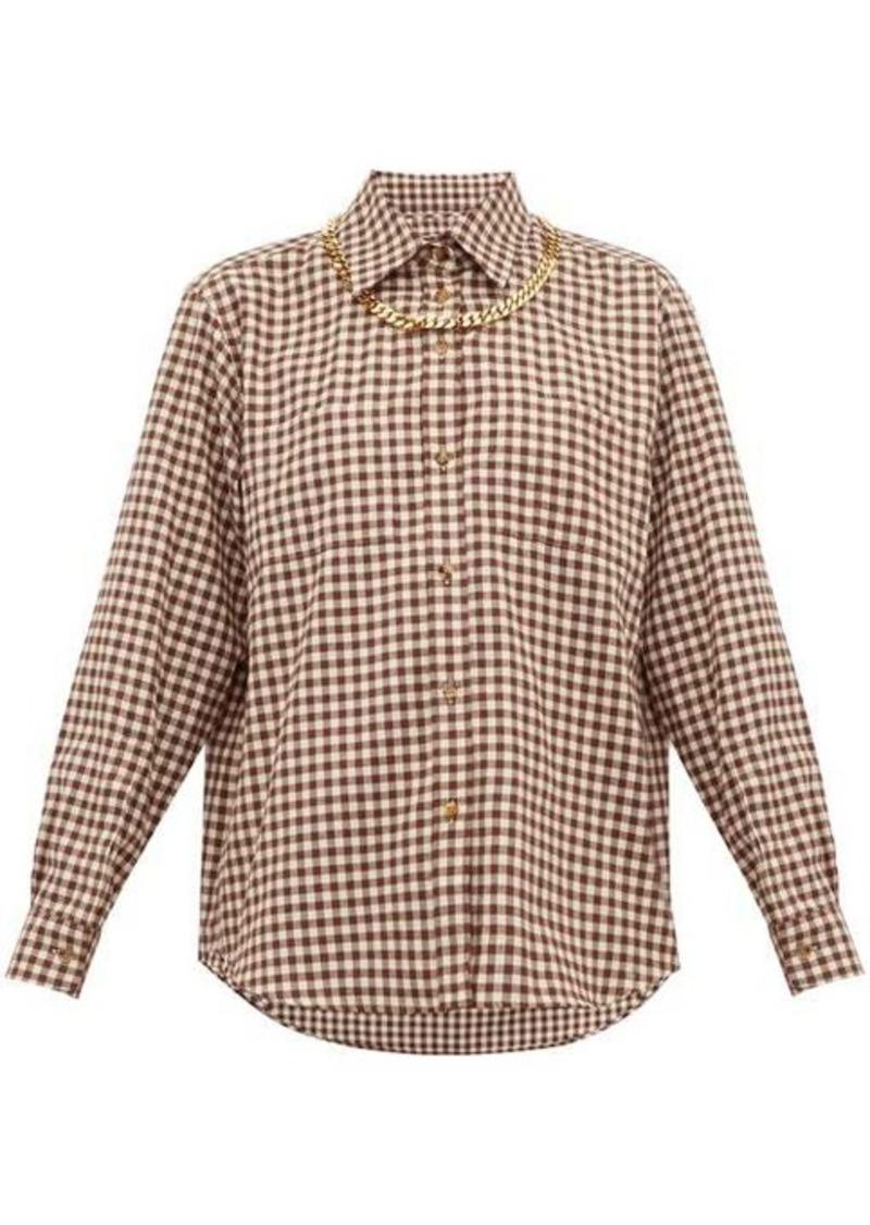 Burberry Chain-trim gingham cotton-flannel shirt