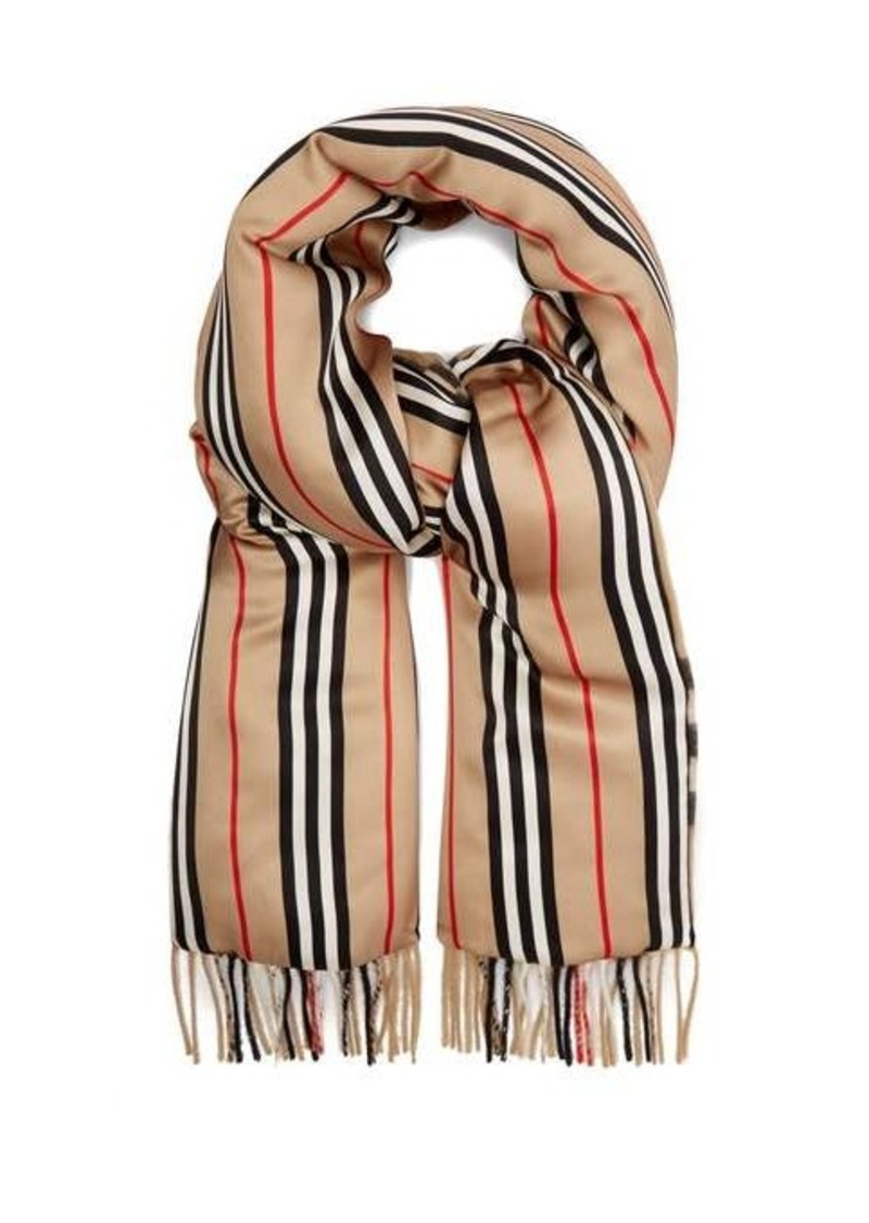 Burberry Check & Icon stripe padded cashmere and silk scarf