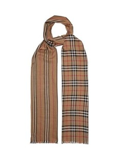 Burberry Check and Icon-stripe wool and silk-gauze scarf