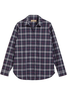 Burberry Check Cotton Shirt - Blue