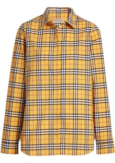 Burberry Check Cotton Shirt - Yellow & Orange