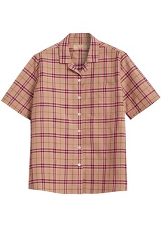 Burberry Check Cotton Short-sleeved Shirt