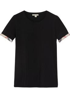 Burberry check cuff T-Shirt - Black