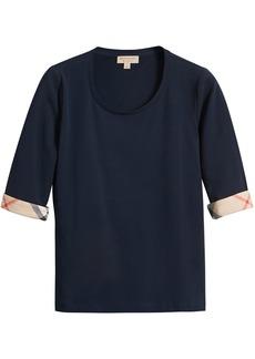 Burberry Check Cuff Stretch-Cotton Top - Blue