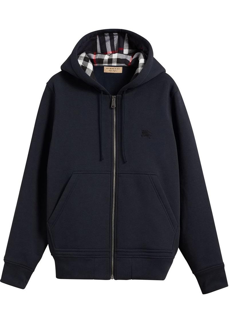 Burberry check detail hooded sweatshirt
