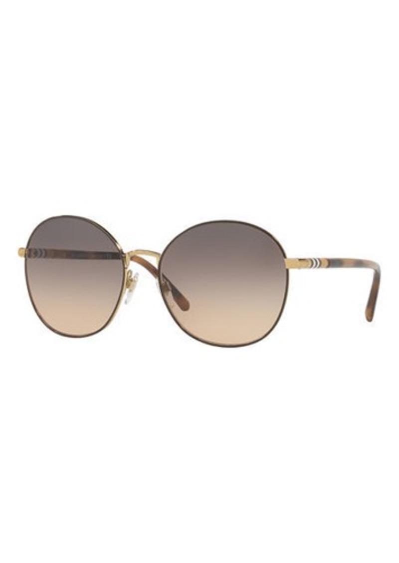 ebfd32e4bb Burberry Check-Trim Round Mirrored Sunglasses
