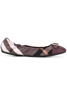 Burberry checked ballerinas - Red