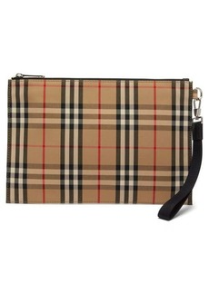 Burberry Checked cotton-blend canvas pouch