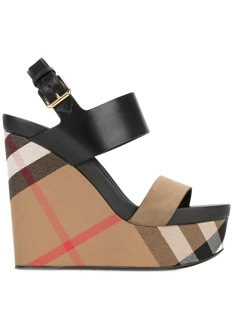 Burberry House Check Leather and Calf Suede Platform Wedges - Black