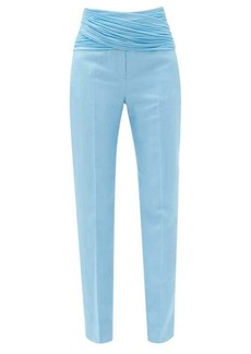 Burberry Chiffon-waist wool-blend slim trousers