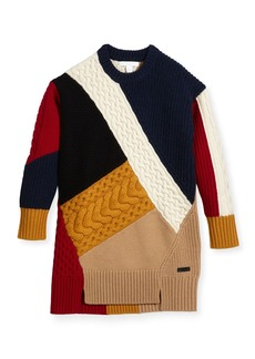 Burberry Claire Colorblock Mixed-Knit Sweater Dress