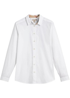 Burberry Check Detail Stretch Cotton Shirt - White